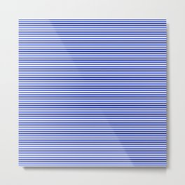 Cobalt Blue and White Horizontal Nautical Sailor Stripe Metal Print