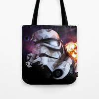 stormtrooper Tote Bags featuring Stormtrooper by Ruveyda & Emre