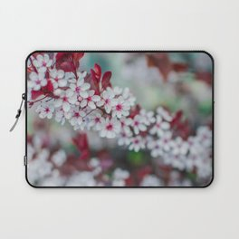 White Cherry Blossoms and Red Leaves Laptop Sleeve