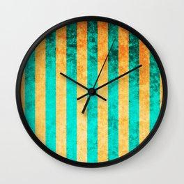 Jeweled Emerald and Gold Glitter Stripes Pattern Wall Clock