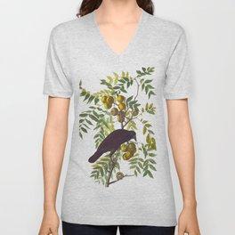 American Crow Vintage Bird Illustration Unisex V-Neck