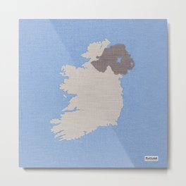 Ireland Linen Fabric Map Art Metal Print