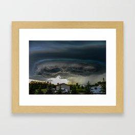 Storm Grows North of Bismarck North Dakota Framed Art Print