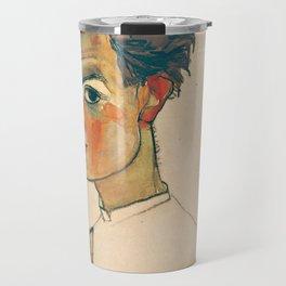 "Egon Schiele ""Self-Portrait with Striped Shirt"" Travel Mug"