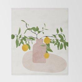 Lemon Branches Throw Blanket