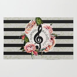Treble Clef with Watercolor Roses Rug