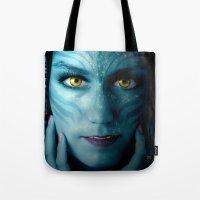 avatar Tote Bags featuring Avatar by Karel Stepanek