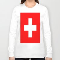switzerland Long Sleeve T-shirts featuring Flag of Switzerland by Neville Hawkins