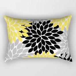 Yellow Black Gray Flower Burst Floral Pattern Rectangular Pillow