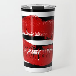 Stripes and Red Kiss Alternate Travel Mug