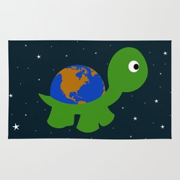 world on turtle Rug
