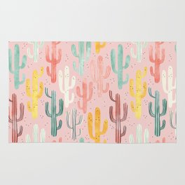 Long Multicolored Cacti Rug