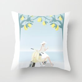 Drinking cocktails, under lemon trees, on a scooter Throw Pillow