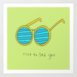 Nice to Sea You Retro Shades Green Art Print
