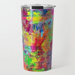 Colorful Abstract Relief Impaso Textured Painting - Detail after my artwork Dischromy 10 Travel Mug