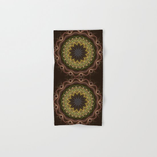 Groovy fractal mandala with tribal patterns Hand & Bath Towel