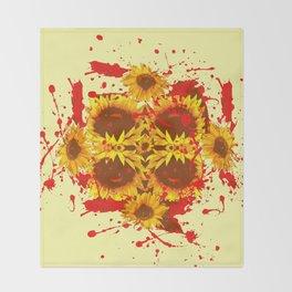 CAUTION: DANGEROUS SUNFLOWERS YELLOW-RED ART Throw Blanket