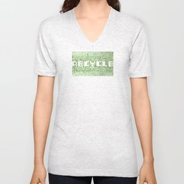 Recycle watercolor mosaic Unisex V-Neck
