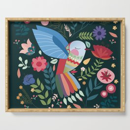 Folk Art Inspired Hummingbird With A Flurry Of Flowers Serving Tray