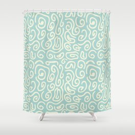 Off white and mint green abstract swirls pattern Shower Curtain