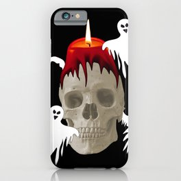 Halloween Skull with candle and ghost monsters iPhone Case