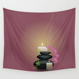 Pebbles with orchid Wall Tapestry