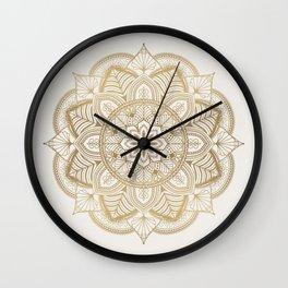 Mandala Beige Creamy Pattern 1 Wall Clock