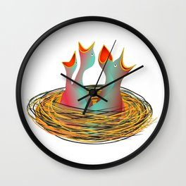 hungry birds Wall Clock