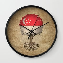 Vintage Tree of Life with Flag of Singapore Wall Clock