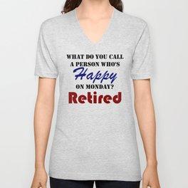 Retired On Monday Funny Retirement Retire Burn Unisex V-Neck