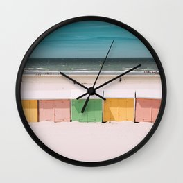 Beach Cabins North Sea Wall Clock