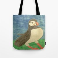 puffin Tote Bags featuring Puffin by Danielle Gensler