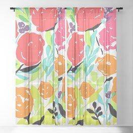 Pink Red Orange Summer Flowers / Bright Rose Pattern / Fun Floral Pattern / Neon Rose Garden Sheer Curtain