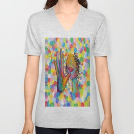 ASL for MOTHER on a Bright Bubble Background Unisex V-Neck