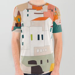 italy coast houses minimal abstract painting All Over Graphic Tee