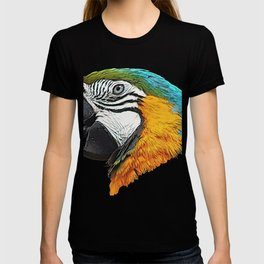 Parrot Face Bird Commemorative Statue Side From Forest T-shirt