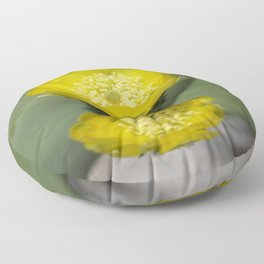A Pair of Yellow Prickly Pear Flowers Floor Pillow