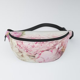 Peonies on white Fanny Pack