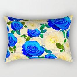 DECORATIVE WHITE & BLUE ROSES GARDEN ART DESIGN Rectangular Pillow