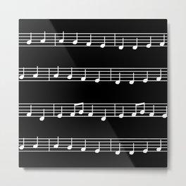 Sheet Music White Notes on Black Background Metal Print