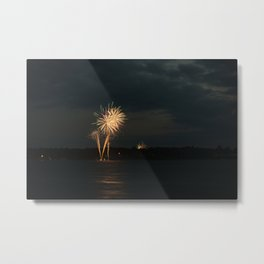 Fireworks Over Lake 5 Metal Print