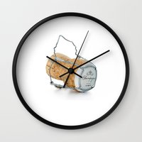 champagne Wall Clocks featuring Champagne by Marcus Landy