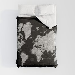 Black and grey watercolor world map with cities Comforters