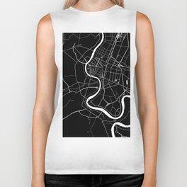 Bangkok Thailand Minimal Street Map - Midnight Black and White Biker Tank