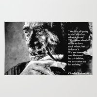 bukowski Area & Throw Rugs featuring Charles Bukowski - black - quote by ARTito