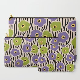 Mid Century Modern Wild Flowers Pattern Purple and Green Carry-All Pouch