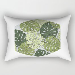 Monstera Hexagon Pattern Rectangular Pillow