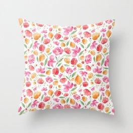 Japanese Summer Blooms Throw Pillow