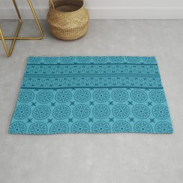 African Ethnic Tribal Blue Pattern Rug