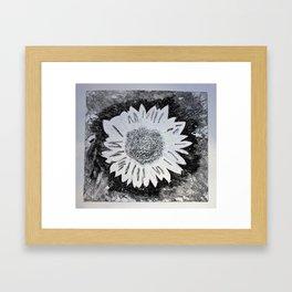 Black and White Sunflower Framed Art Print